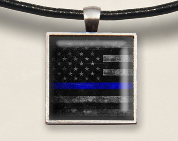 Thin Blue Line -Rustic Flag. Silver Tray Necklace