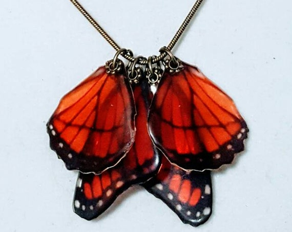 Ruby Red Monarch Butterfly Wings - Necklace