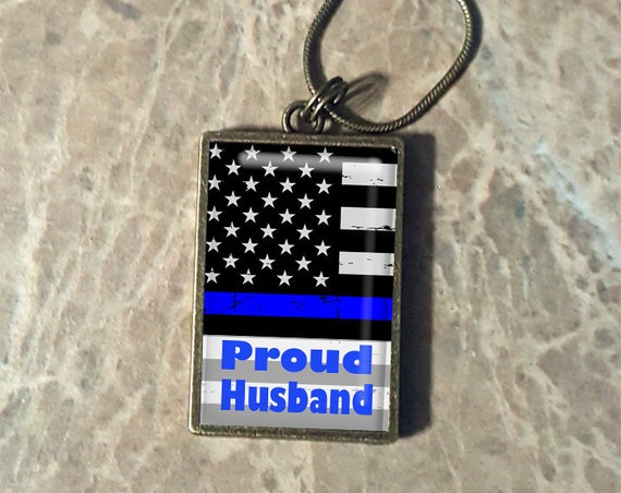 Thin Blue Line Support - Transparent Bronze Frame - Choose Your Pendant