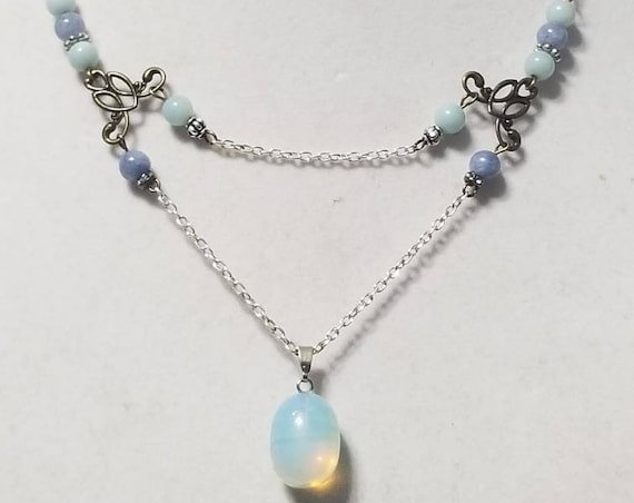 Meditation Stone Necklace: The Healer. Opalite, Blue Beryl, Prehnite
