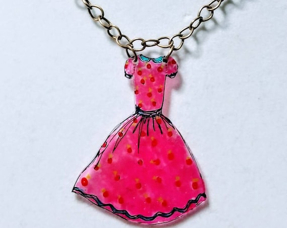Vintage pink dress necklace. Whimsical statement necklace.