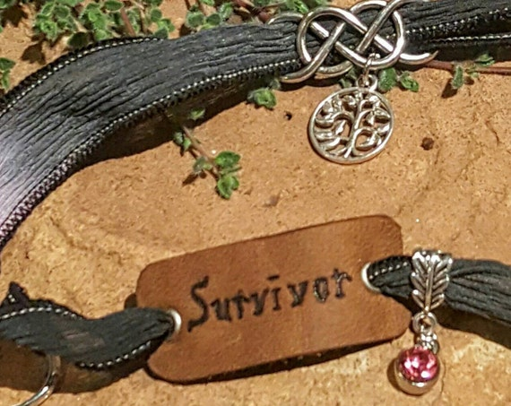Survivor - Silk Wrap Bracelet with LEATHER Charm