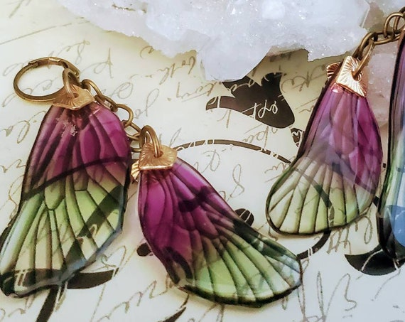 Violet Moss Dragonfly Wings Earrings