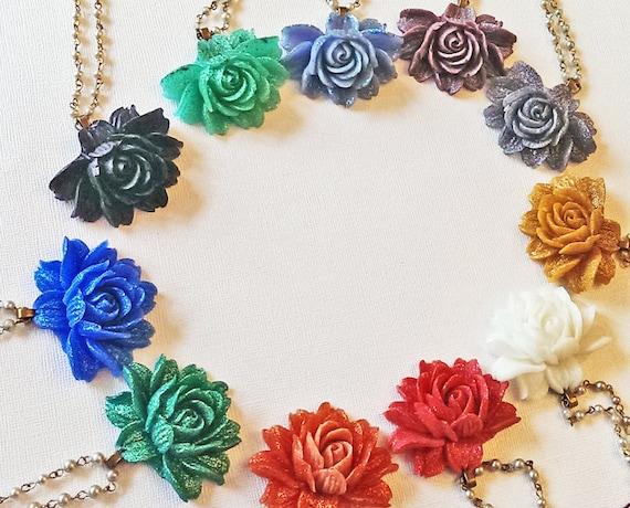 CUSTOM Large Rose Resin Necklace