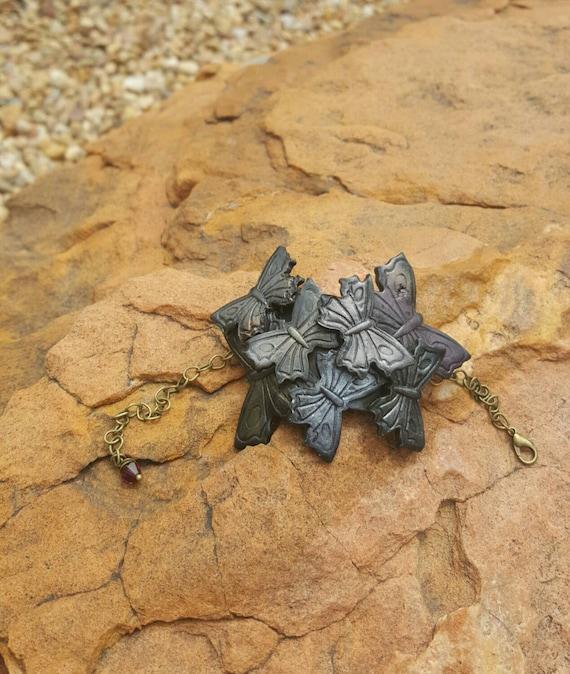 Butterfly bangle bracelet, polymer clay
