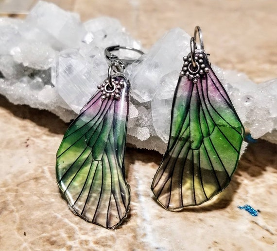 Iridescent Purple/Green Mini Dragonfly Wings Earrings