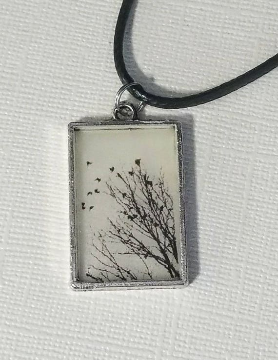 Birds in the Brush - glow in the dark necklace