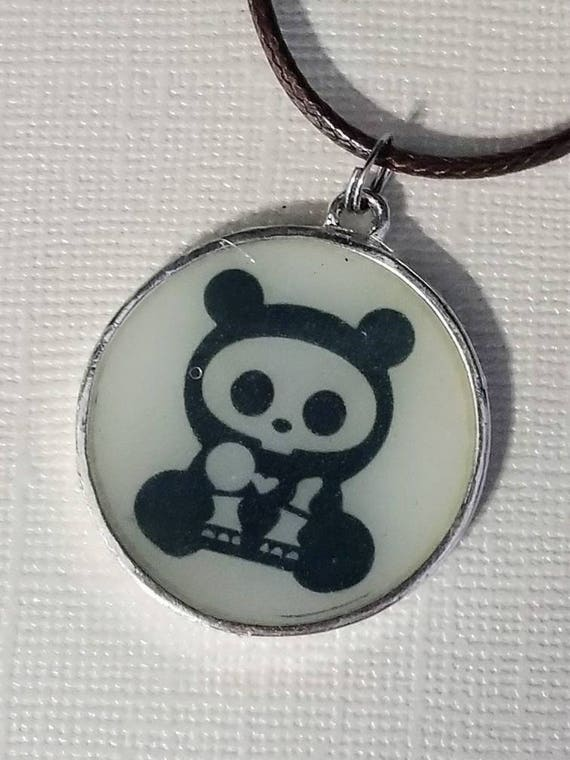 Skelly Bear - glow in the dark necklace