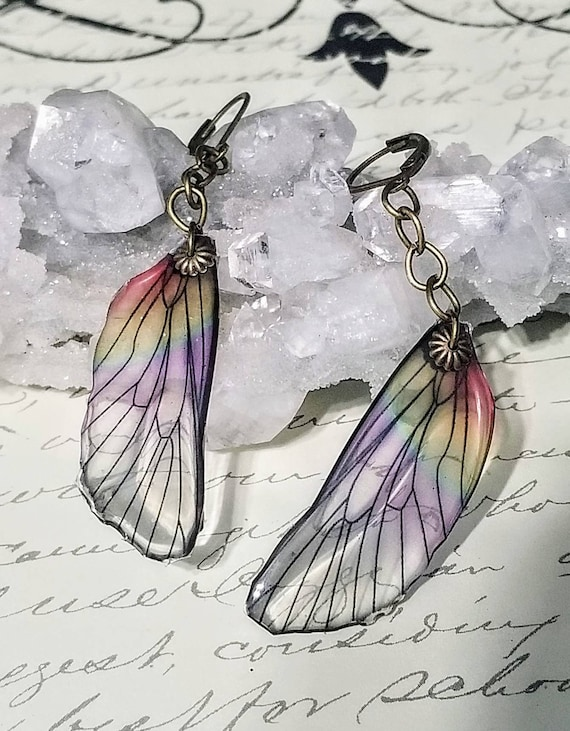 Iridescent Single Dragonfly Wing Earrings - Rainbow Mist