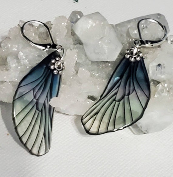 Smokey Blue Dragonfly Wings Earrings