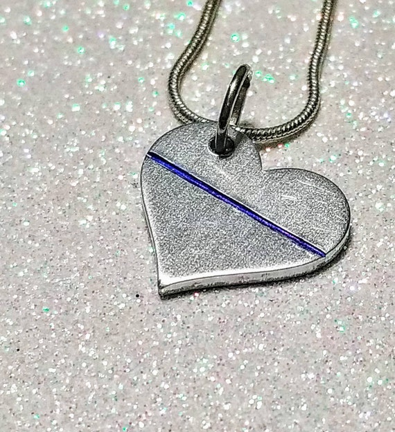 Thin Blue Line heart necklace.
