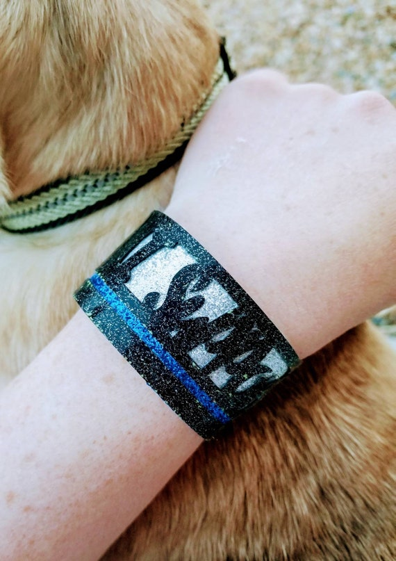 SALE - 40% off!  Sparkle Vinyl Cuff Bracelet - Layered Thin Blue Line Support.