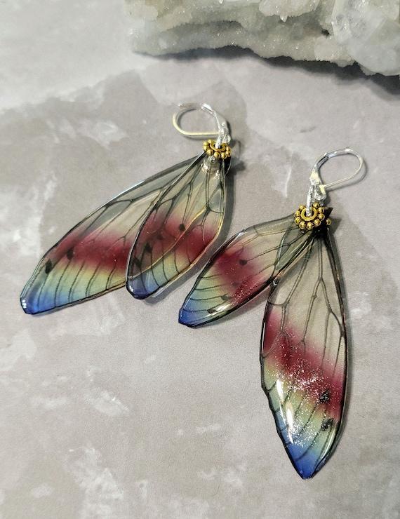 Iridescent Fluttering Fairy Wings Earrings - Quiet Courage