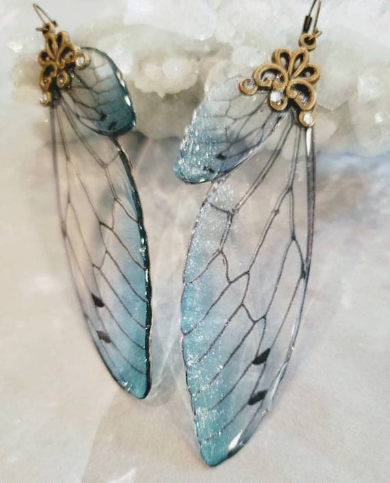 Iridescent large FAIRY Wings Earrings - Ice Storm