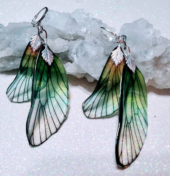 Iridescent Double Dragonfly Wing Earrings - Softly Sea