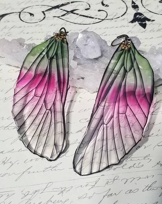 Giant Iridescent Single Dragonfly Wing Earrings - Watermelon Sherbert