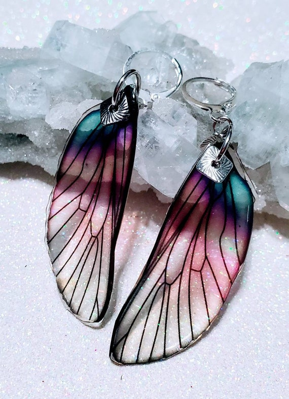 Iridescent Soft Pinkish Seashell Dragonfly Wings Earrings