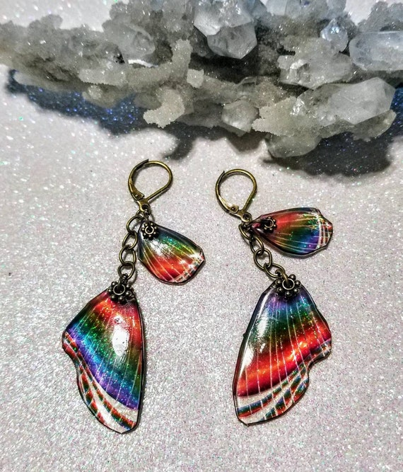 Glass Rainbow Butterfly Wing Earrings