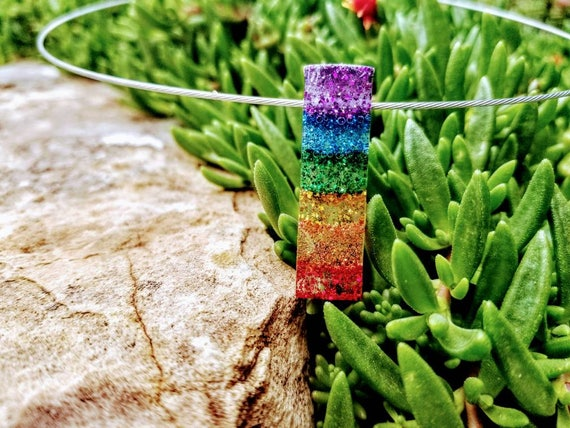 Transparent Pendant - Sparkling Rainbow, Rectangle