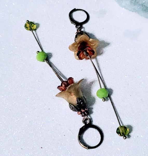 Copper Green Dangling Flowers - lucite earrings