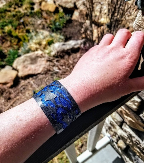 Sparkle Vinyl Cuff Bracelet - Layered Night Sky. Choose your color.