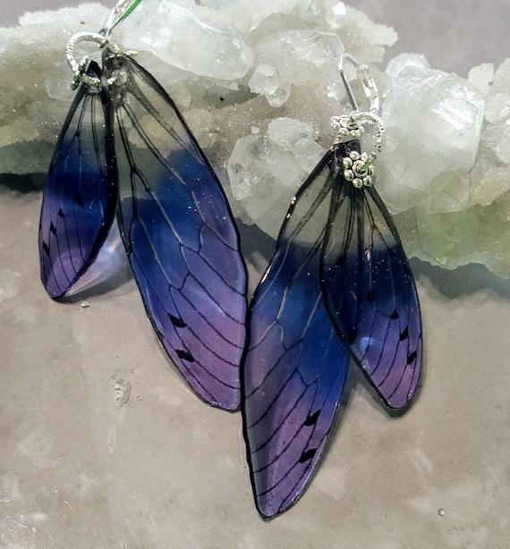Iridescent Fluttering Fairy Wings Earrings - Blueberry Pie