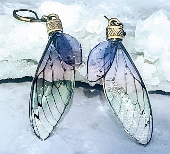 Iridescent FAIRY Wings Earrings - Soft Sorbet