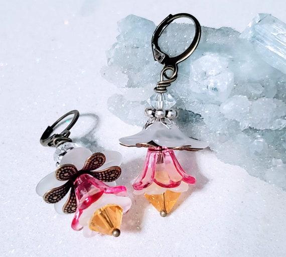 Pink Lemonade Flowers - lucite earrings