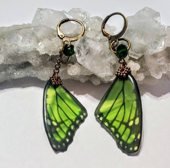 Green Single Butterfly Wing Earrings