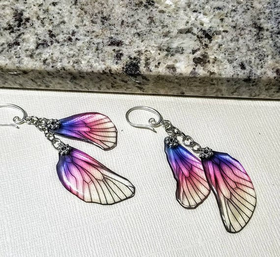 Iridescent Princess  Dragonfly Wings Earrings