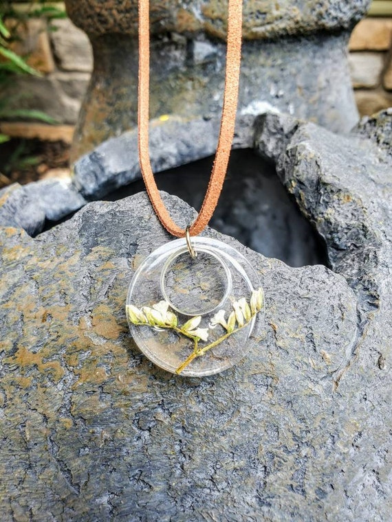 Twig of Paperwhites- clear resin necklace bouquet