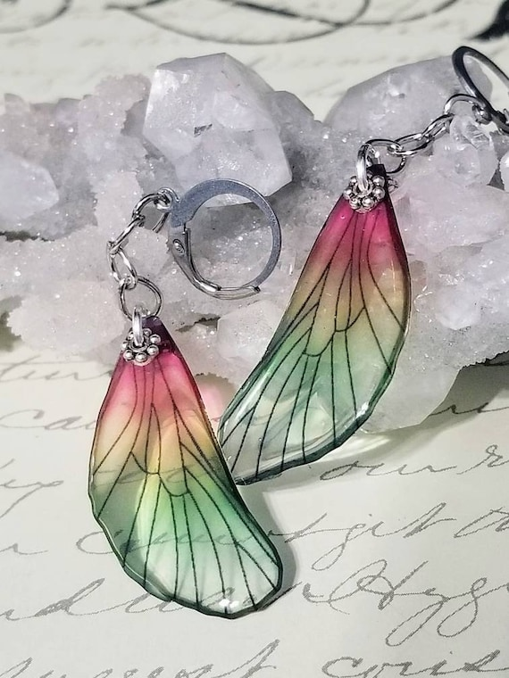 Iridescent Single Dragonfly Wing Earrings - Strawberry Vine