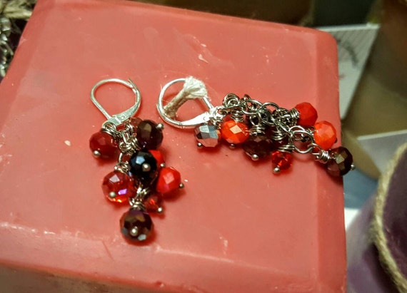 Crystal Cluster Dangle Earrings - Cranberry Fizz