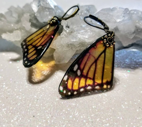Orange Single Butterfly Wing Earrings
