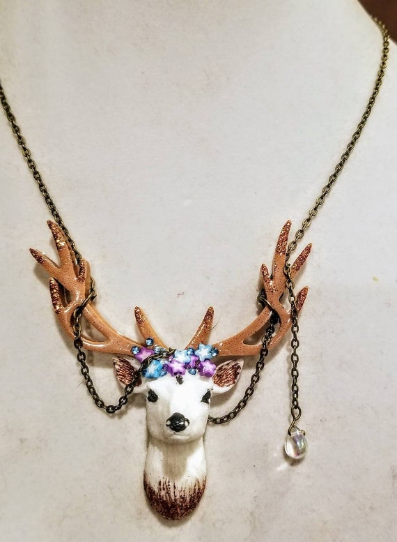 Deer Head Necklace - Winter Sky