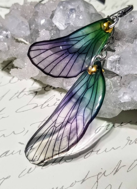 Iridescent Dragonfly Wings Earrings - Lovely Lilac