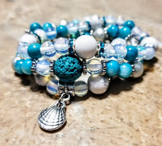 3 Strand Diffuser Power Bracelets -White Opal, Blue Opal, Sterling Pearl and Howlite. Yoga, meditation, chakra, mala, buddhist, reiki