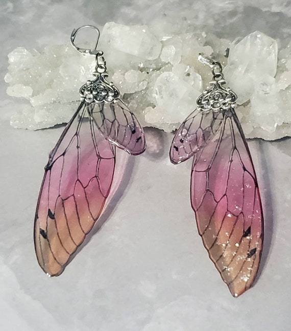 Iridescent large FAIRY Wings Earrings - Peachy Pink