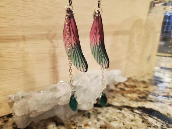 Watermelon Rain Dragonfly Earrings
