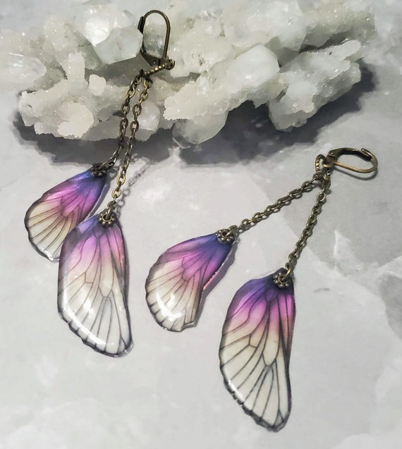 Iridescent Sunset Double Dragonfly Wings Earrings