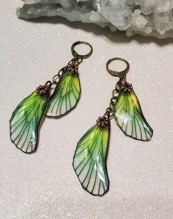 Iridescent Double Dragonfly Wing Earrings - Pale Sea Foam