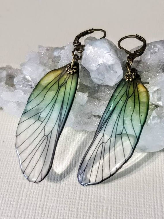 Iridescent Single Dragonfly Wing Earrings