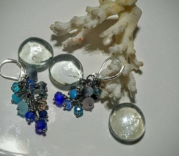 Crystal Cluster Dangle Earrings - Sea Bubbles