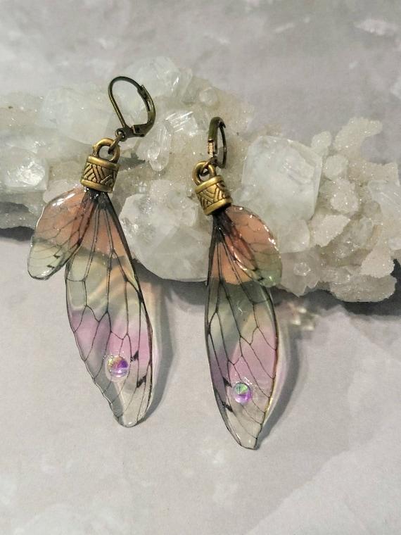 Iridescent FAIRY Wings Earrings - Rainbow Sherbet