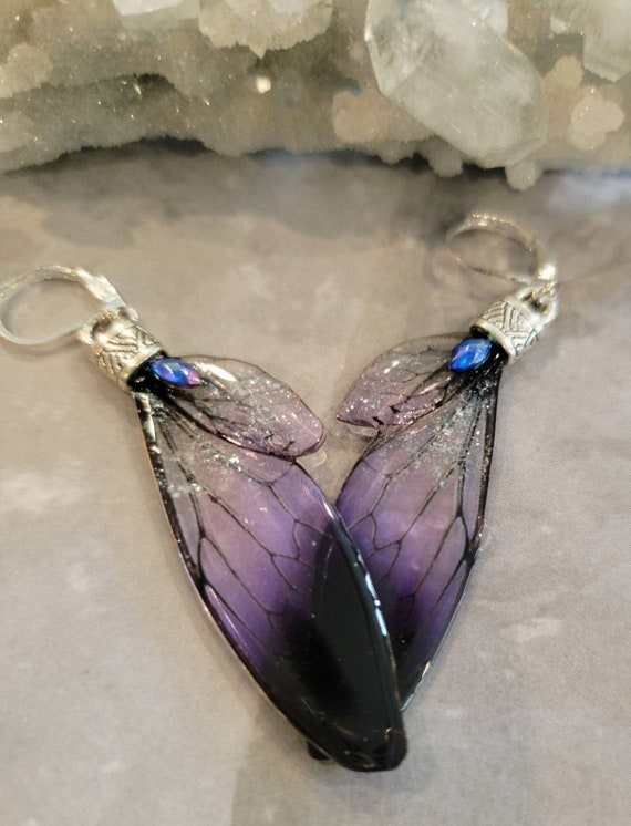 Iridescent FAIRY Wings Earrings - Dark Lilac