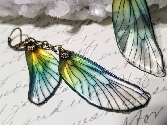Iridescent Dragonfly Wings Earrings - Double Rainbow