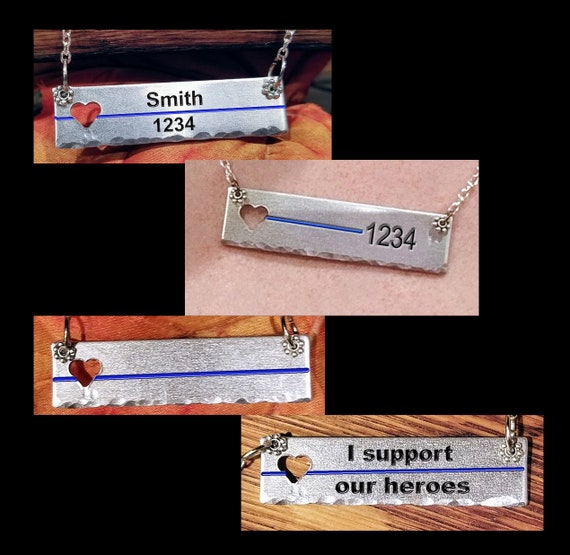 Thin Blue Line CUSTOM necklace. Law Enforcement. Police Support.