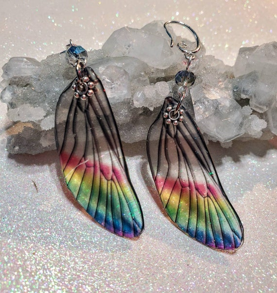 Iridescent Single Dragonfly Wing Earrings - Crystalline Rainbow