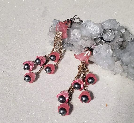 Obsidian Pink Rain Flowers - lucite earrings