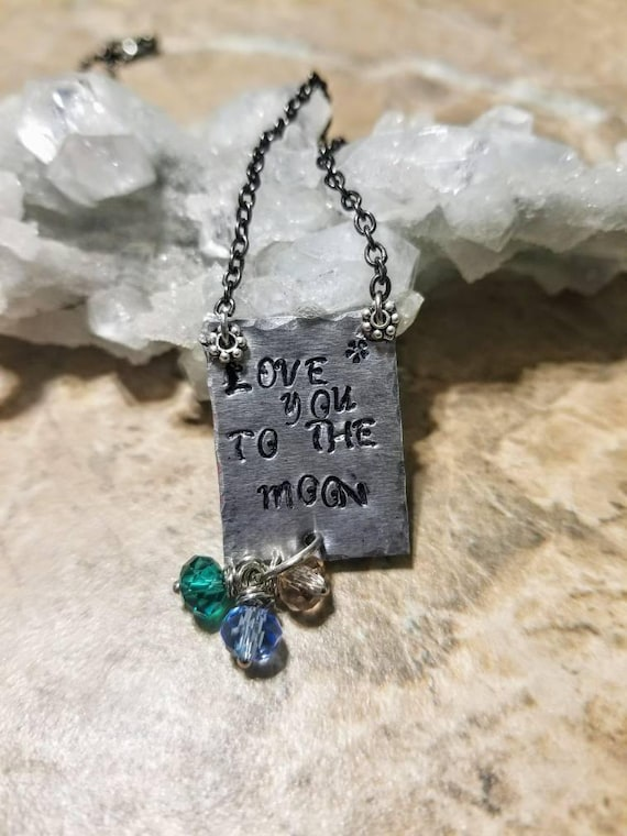 Love you to the moon - stamped metal necklace